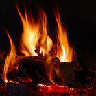 Fire in fireplace by Jean-Marie Polain