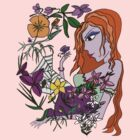 Young Woman In The Flowers T-Shirt by flokot