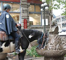 The Cop, the Horse, the Fountain and Chief Seattle by Bob Moore