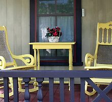 YELLOW ROCKERS ON PORCH by Joan Harrison