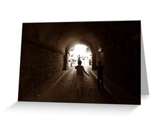 Walking to out of tunnel. Greeting Card