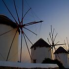 Windmills in Mykonos by Caroline  Freeman