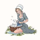 Afternoon Chores - Cute Amish Girl Washing Clothes by murrayjodie