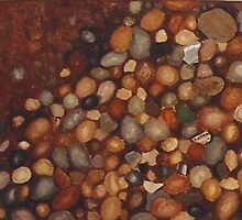 Pebbles and Pottery shards in a streambed, detail from LAYERS by Redviolin