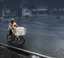 Special Delivery - Biking on a Rainy Day by ArtDisciple