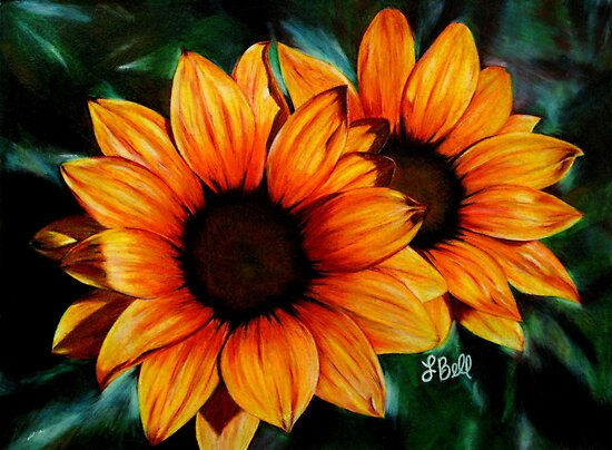 Vibrant, bright, golden sunflowers by Laura Bell