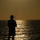 Sunset Fishing Silhouette I by tom j deters