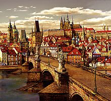 Prague Charles bridge oil painting by Victoria Francisco