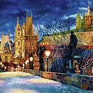 Prague Charles bridge at night by Victoria Francisco