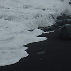 White Waves Meet Black Sand, Maui by muddylilac