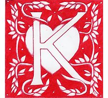 Red Heart Letter K Photographic Print