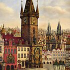 Prague's Old Town square Oil painting on canvas by Victoria Francisco