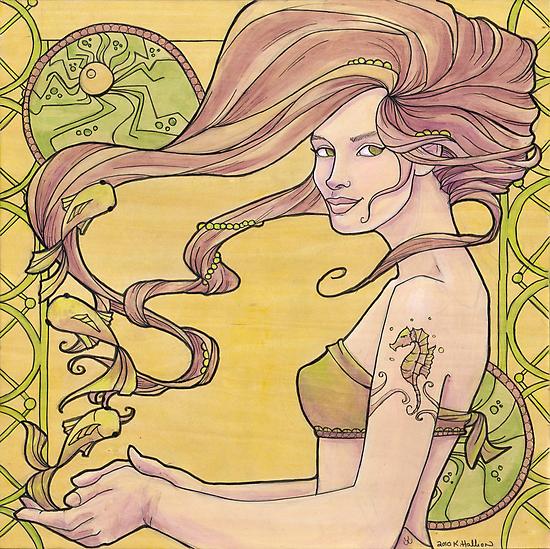 Tattooed Mermaid 2 by Karen  Hallion