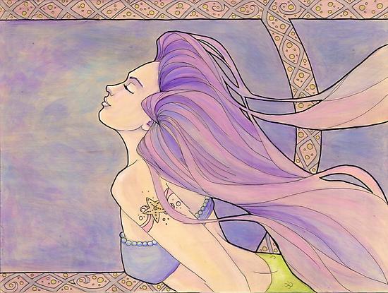 Tattooed Mermaid 4 by Karen  Hallion