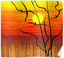 Digital painting of tree in a sunset atmosphere Poster