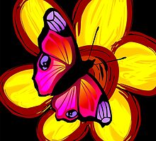 butterfly sitting on a flower by tillydesign