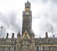 Imposing City Hall Clock ~ Bradford ~ by Sandra Cockayne