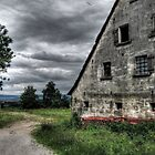 stormy franconian landscape with old farm by robertschlund