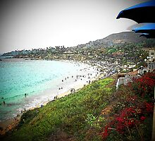 3-Blue Umbrellas/ Laguna Beach, CA.. by Rita  H. Ireland
