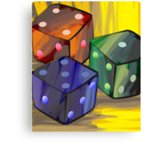 Digital painting of three dices Canvas Print