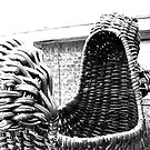 Giant Wicker Squirrel Attacks House by Margaret Bryant