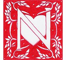 Red Heart Letter N Photographic Print