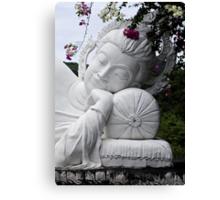 White Reclining Buddha Canvas Print