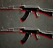 AK47 Assault Rifle Pop Art by Michael Tompsett