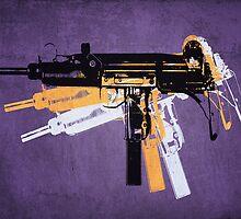 Uzi Sub Machine Gun on Purple by Michael Tompsett