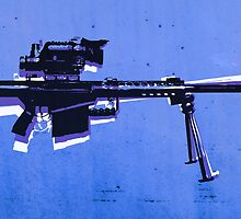 M82 Sniper Rifle on Blue by ArtPrints