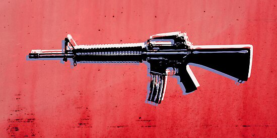 M16 Assault Rifle on Red by ArtPrints