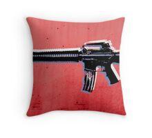 M16 Assault Rifle on Red Throw Pillow