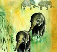 Elephant walk by Lynn Hughes