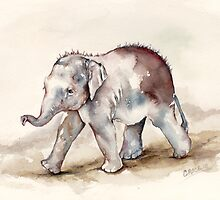 Young Mali the Elephant Strides Out by CroceDesigns