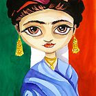 Frida Kahlo watercolour folk art painting by gordonbruce