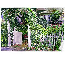 Charming Cottage Gate Poster