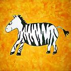 Black and White Striped Handpainted Zebra on Orange Yellow Background by Begow