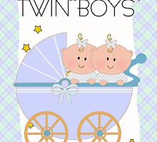 Twin Boys Congratulations Card  by Moonlake