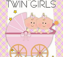 Twin Girls Congratulations Card by Moonlake