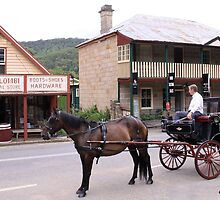 Horse and carriage outside general store by JohnLCoombes
