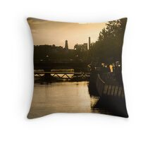 Golden Sunset Over the River Liffey Throw Pillow