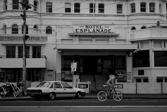 Andi Di Donato passing the Esplanade Hotel by Lauren Marr