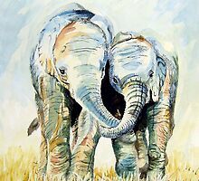 Calf Elephants by Sue Nichol