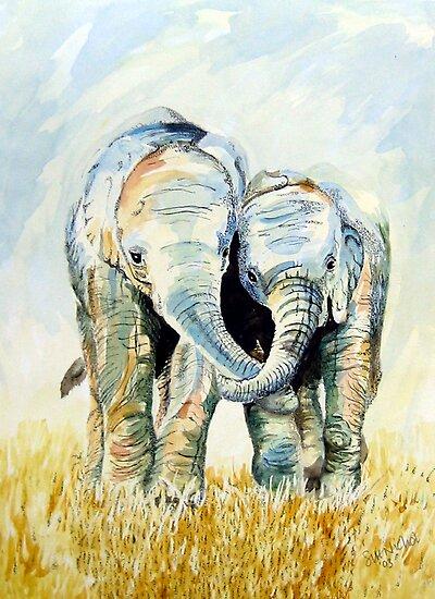 Calf Elephants by Sue Nichol