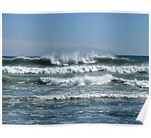 Waves from the Atlantic - Wind from the North - Point Judith - Rhode Island Poster