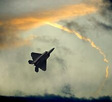 F-22 Raptors-Fighter Jets In A Troublesome Sky by Ron Day