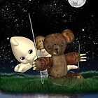 Dead Bear Whith Ghost - Hallowen Card by Moonlake