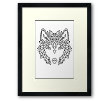 Wolf Face triangles poster illustration  Framed Print