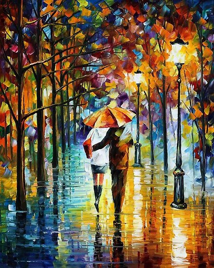 Under The Red Umbrella - Original Oil Painting By Leonid Afremov by Leonid  Afremov