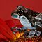 Amazon milk frog on red by AngiNelson